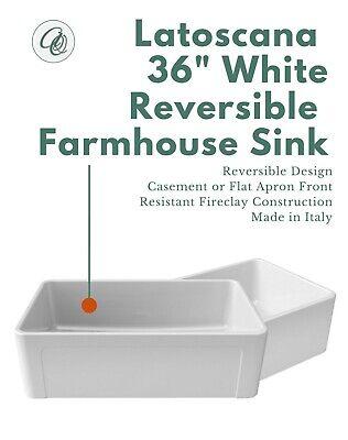 latoscana reversible 36 fireclay farmhouse white farm sink apron front italian 650053027082 ebay