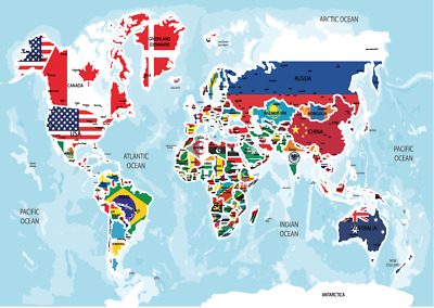 World Map Atlas Poster Small A5 Size Laminated Hd Print Countries Flags Learning Ebay