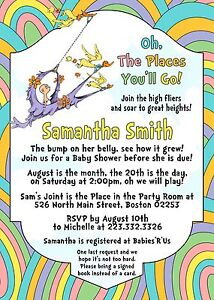 Details About Oh The Places You Ll Go Baby Shower Invitations Personalized Dr Seuss