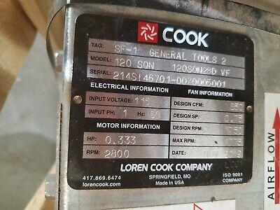 new loren cook 120sqn square direct drive exhaust fan 333hp 115vac 850 cfm ebay