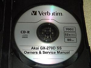 AKAI GX270D SS REEL TO REEL TAPE DECK OPERATOR'S & SERVICE MANUAL ON A CD | eBay