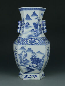 Blue and white Chinese antique porcelain Hexagonal vase late 19th c.
