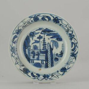 Antique Chinese Porcelain Ming 1540-1580 Jiajing Wanli Landscape Plate w...