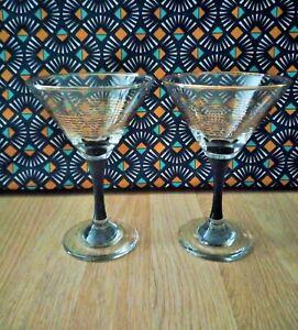 details sur 2 verres a cocktail vintage verres a pieds noir et coupe cerclee doree