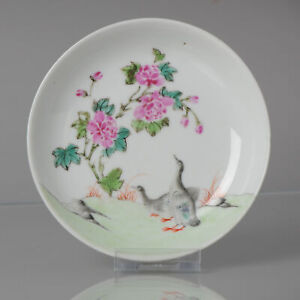 Antique 18C Famille Rose Dish with Ducks Style Qianlong Decoration