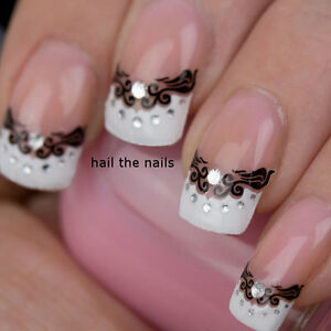 French Nail Art Tips Wrap Stickers Lace Hearts Bows inc Crystals - Easy to Apply