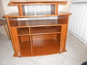 details sur meuble a etageres avec support tv independant pivotant sur roulettes