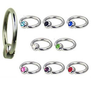 1,2mm Piercing Ring mit 4mm Flatback Kugel Lippenbändchen Ohr Lippen Schmuck