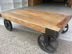 details about new industrial vintage rustic timber coffee table with wheels