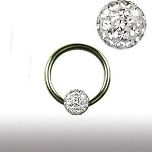 1,2mm Intim Ohr Piercing Ring Epoxy mit Multistrass rundum glitze Kristall Kugel