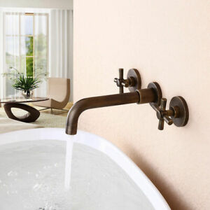 details about vintage wall mounted double cross handle bathroom sink basin taps antique brass