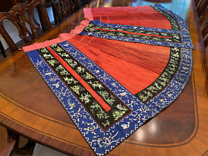 An Excellent Chinese Qing Dynasty Embroidered Silk Skirt.