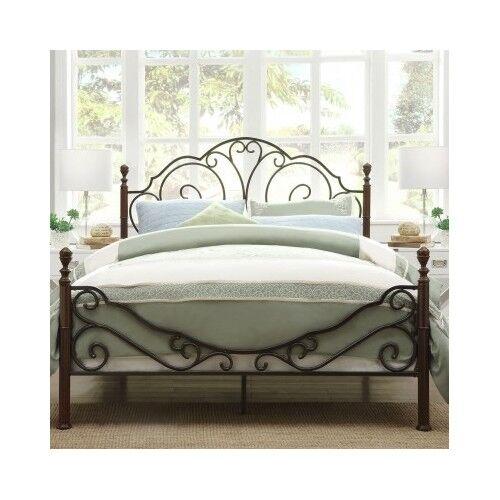 Queen Bed Antique Victorian Iron Vintage Rustic Metal