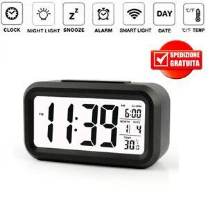 sveglia digitale elettronica led,orologio da viaggio con funzione di snooze/doppia campana/luminosità regolabile/luminosità del controllo vocale/superficie a specchio,: Orologio Sveglia Digitale Da Comodino Tavolo A Batteria Temperatura Data Ebay