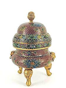 Chinese Plique A Jour Cloisonne Enamel Incense Burner Censer