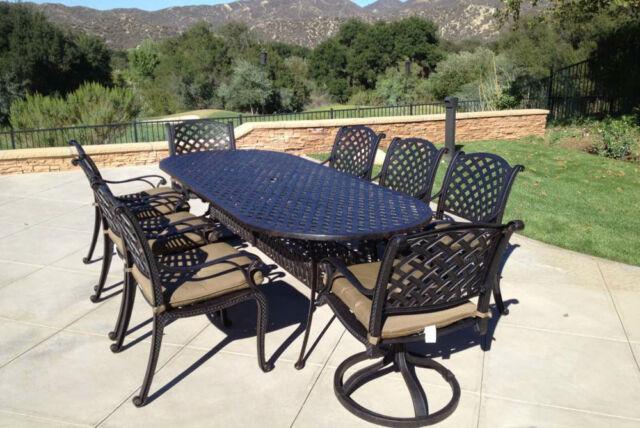 patio dining set 9pc cast aluminum luxury outdoor furniture seats 8 rust