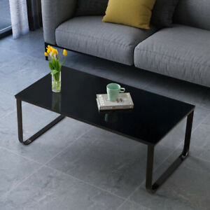 details about 6 mm black glass coffee table side end table rectangle living room modern