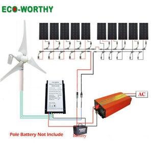 Hybrid-Kit Windturbine Generator solarpanel 500W 1KW Solarmodul Wechselrichter