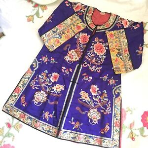 Antique Embroidered Chinese Silk Robe Purple Flowers Coral Lining
