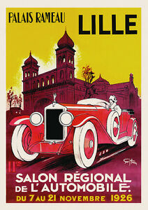 details about vintage art deco french poster lille motor show car print 1920s man cave retro