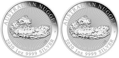 2 x 1 oz. Silber 999.9 -1 AUD- ***Australian Nugget II - HAND OF FAITH 2020***
