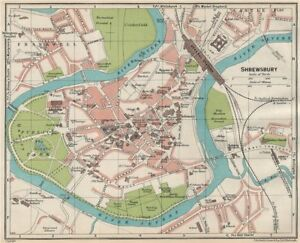 SHREWSBURY  Vintage town city map plan  Shropshire 1930 old vintage     Image is loading SHREWSBURY Vintage town city map plan Shropshire 1930