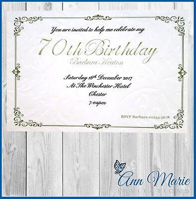 70th Birthday Party Invitations Card