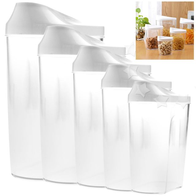 5pcs Dry Food Storage Box Plastic Bucket Cereal Cabinets Container Set 2