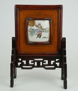 Antique Chinese Famille Rose Porcelain Warrior Plaque Wooden Table Screen 19th C