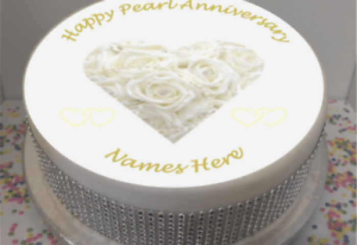 Personalised 30th Pearl Wedding Anniversary 75 Edible Icing Cake