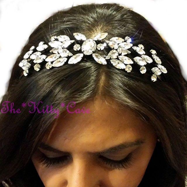 debenhams vintage nouveau floral crystal cluster statement crown tiara hair band