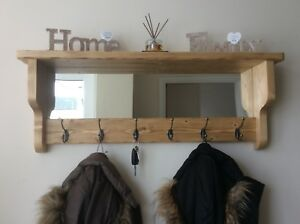 details about beautiful quality handmade rustic wooden coat hook rack with mirror and shelf
