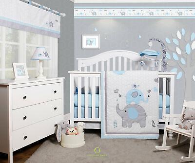 6 piece blue grey elephant baby boy nursery crib bedding sets by optimababy ebay