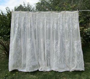 details sur tres grand rideau voilage pour baie vitree ecru oiseaux roses vintage 220x220cm