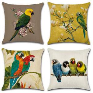 details about flower bird parrot print dustproof pillow case cushion cover sofa pillowcase one