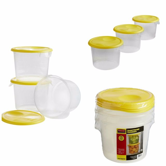 Commerical Food Storage Containers Clear Round Lock Lids (6 Quart) Buckets NEW 2