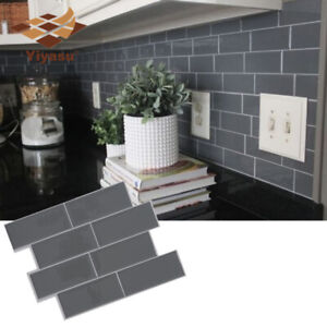 details about 3d grey brick subway tile peel and stick self adhesive wall sticker diy decds