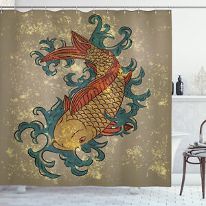 details about japanese shower curtain asian koi fish art print for bathroom