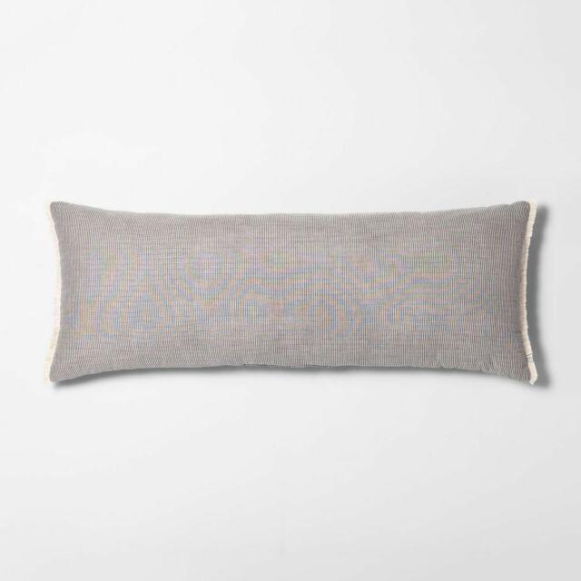 hearth hand magnolia lumbar throw pillow striped gray cream fringe 42x16 large