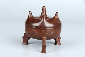 Chinese Antique Incernce Burner Carving in Hetian Jade, Dia9.2*9.5 248.8grams