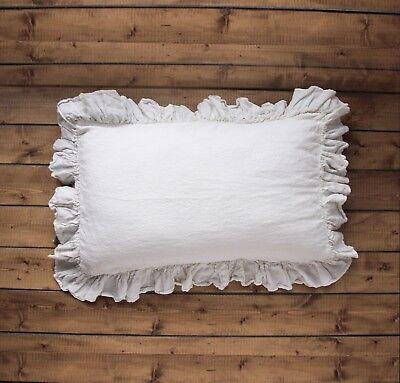 linen pillow case flax 4 sides ruffle pillow sham 100 linen closed seam hem ebay
