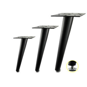 details about set of 4 adjustable black metal furniture legs sofa couch feet height 25 30 35cm