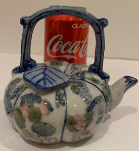 Vintage Chinese Pumpkin Shape Small Tea Pot Hand Painted