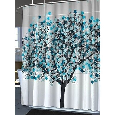 abstract shower curtain blue grey