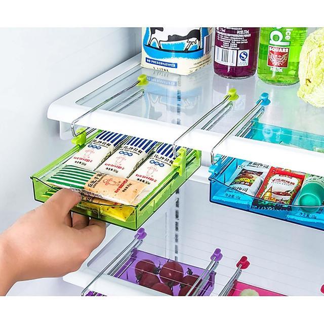 1Pcs Spice Rack Shelf Refrigerator Food Fresh Layer Space Efficient Storage Rack 2