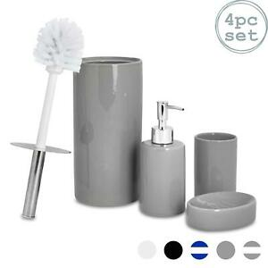 Bathroom Accessories Set 4 Pcs Soap Pump Dish Tumbler Brush Grey 5055512064342 Ebay