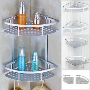 details sur 2 etageres angle aluminium salle de bain coin douche rangement accessoire