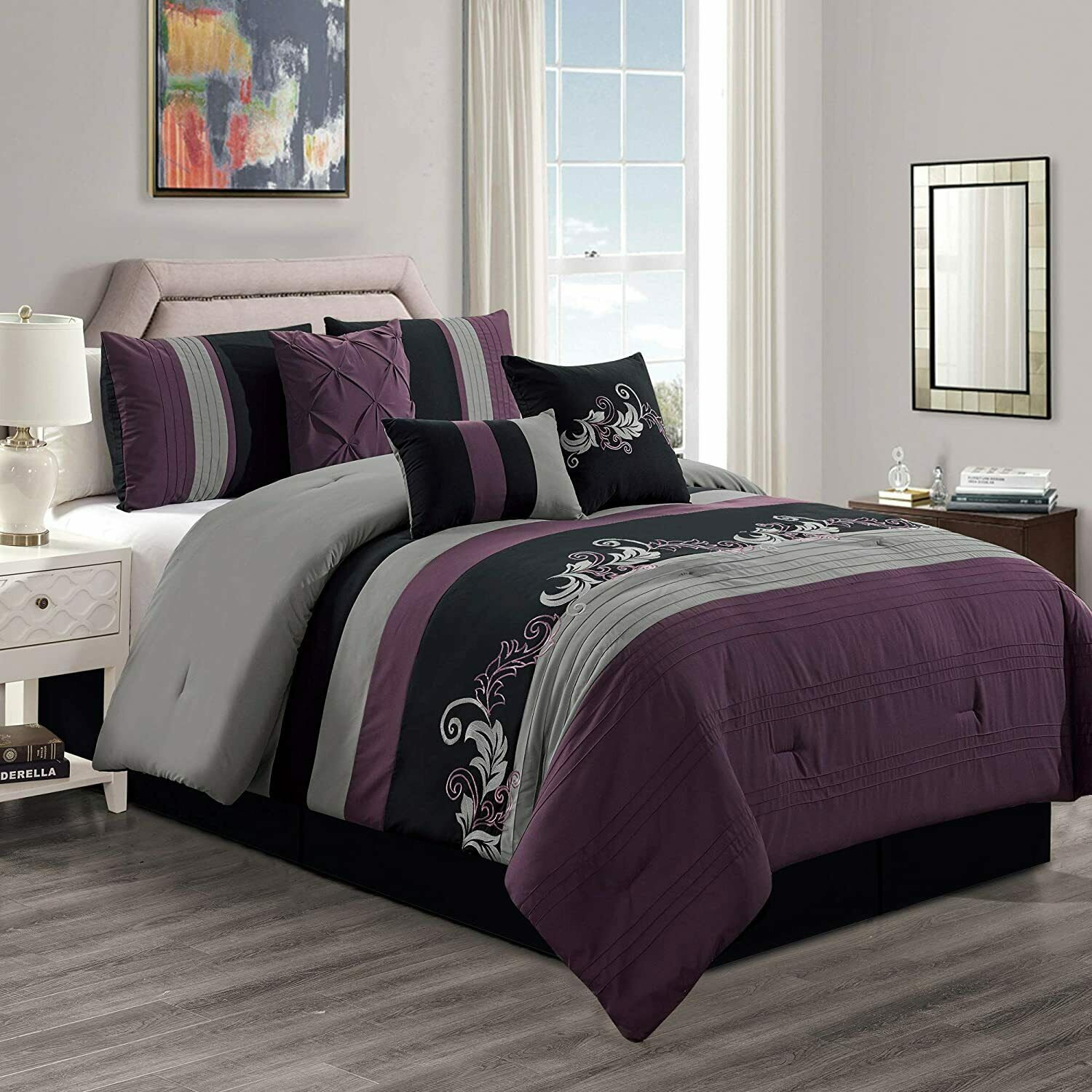 7 piece luxury purple gray black floral leaves scroll embroidery comforter set