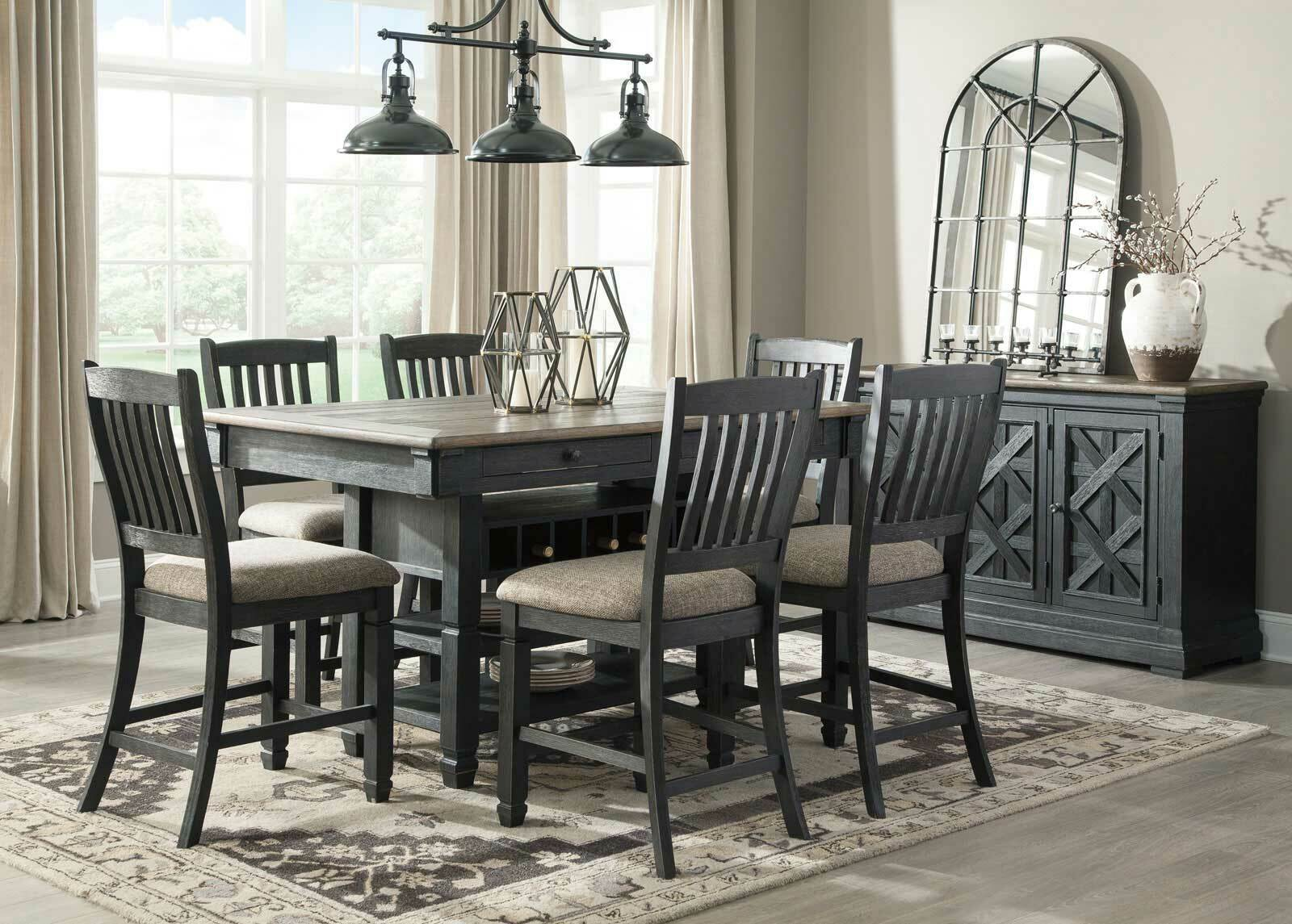 Cottage Counter Height 7 Pieces Dining Room Set Black Square Table Chair Ic53 For Sale Online Ebay