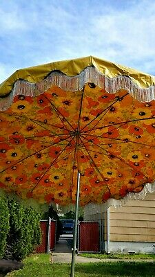 vintage patio umbrella yellow vinyl fringe flowers tilt floral ebay